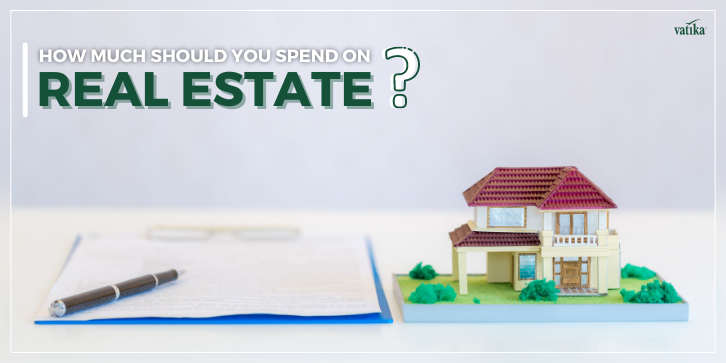a small model of a house with heading text saying how much should you spend on real estate