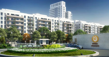 a rendering of an outside view of the seven elements in vatika inxt 2 a project by vatika group