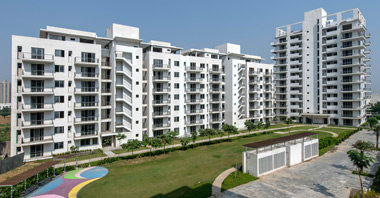 a view of the park & sovereign next building in vatika inxt a project by vatika group