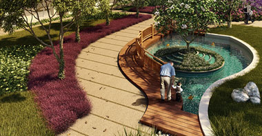 a rendering of a grandfather & his grandson playing in the park in sovereign park in vatika inxt 2 a project by vatika group