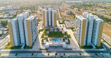 an aerial view of 3 buildings in jaipur 21 project in vatika infotech city by vatika group