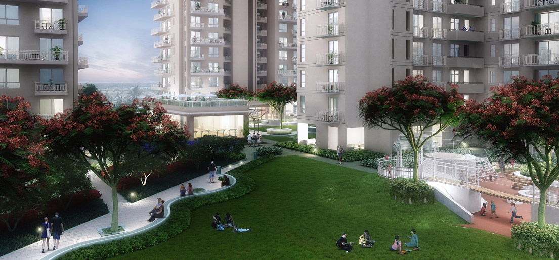 a rendering of a view of the garden of sovereign park a luxurious residential project by vatika group